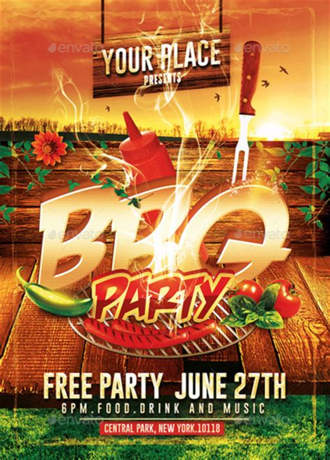 Bbq Party Psd Flyer Template By Romecreation On Deviantart Bbq Flyer Template Free