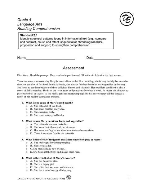 reading comprehension test grade 6 14 best images of cause and effect worksheets first grade