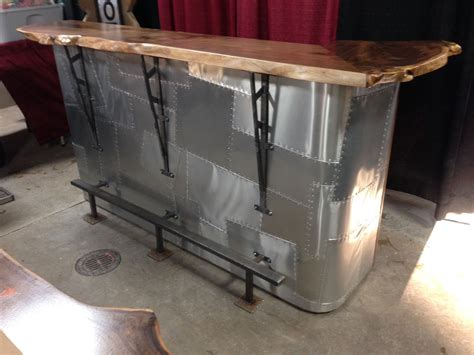Pub Table With Bench Seat Custom Made Walnut Slab And Metal Bar By Saw Tooth Designs