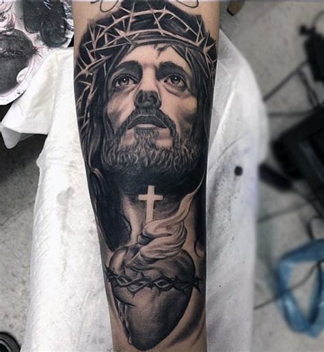 tattoo of jesus on the cross on forearm 100 jesus tattoos for men cool savior ink design ideas