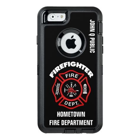 red firefighter name template otterbox defender iphone