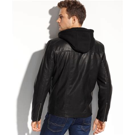 Jaket Hondie Guees guess coats faux leather fourpocket hooded jacket in black for lyst