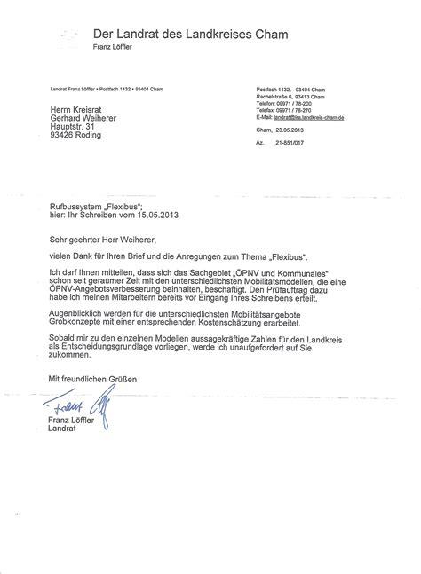 Vielen Dank Und Mit Freundlichen Grüßen Brief Kreisverband Cham Flexibus Briefe An Den Landrat Und Viele B 252 Rgermeister