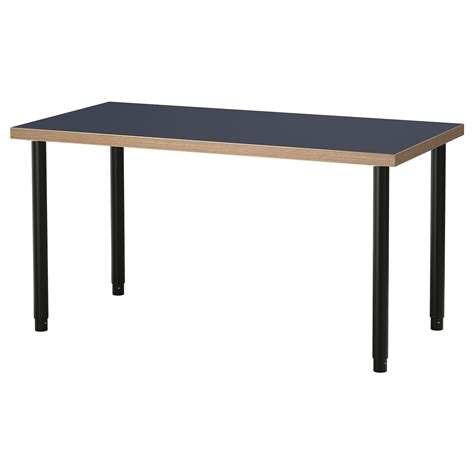 Linnmon Desk by Olov Linnmon Table Blue Black 120x60 Cm