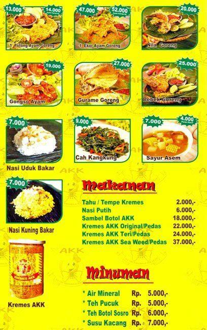harga menu ayam kremes kraton kelapa gading restoran jawa
