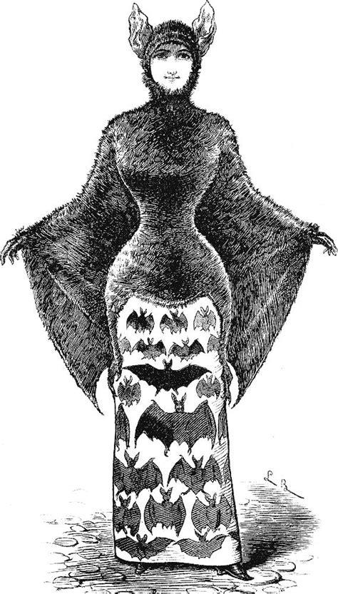 Free Vintage Clip Art - 2 Victorian Bat Ladies - Halloween