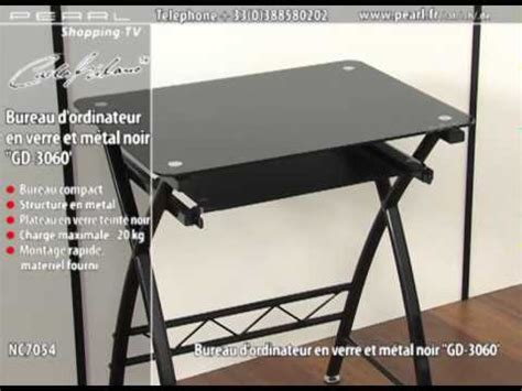 Nc7054 Bureau D Ordinateur En Verre Et M 201 Tal Noir Gd Bureaux Informatique