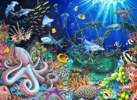 Psychedelic Wall Murals m095 00003 underwater shipwreck mgl
