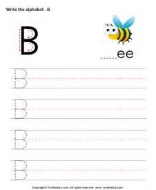 uppercase alphabet writing practice b worksheet turtle diary