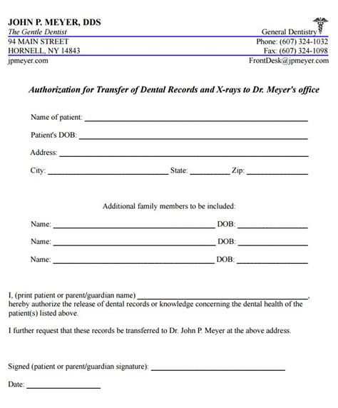 dental records release form pin dental records release form on