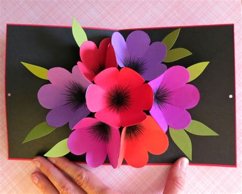 how to make pop up flowers card in paper mmmcrafts this time in purple pink orange and
