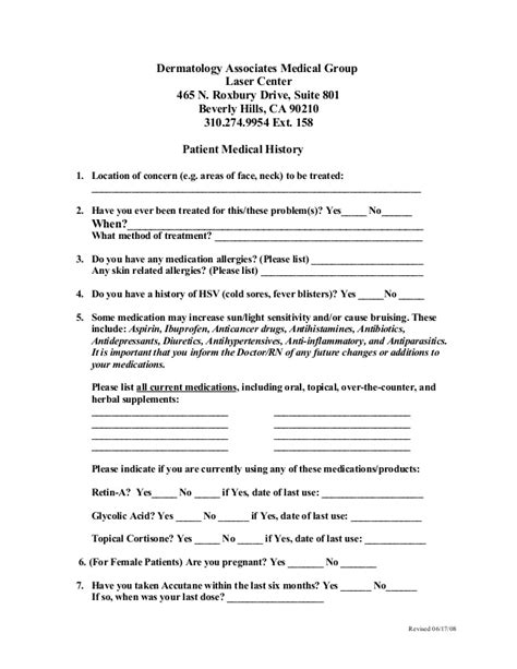 tattoo medical history form consent forms