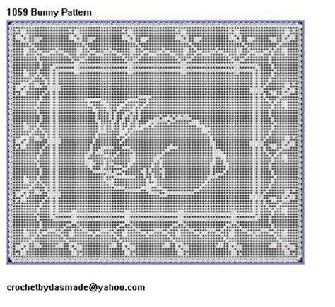 Filet Crochet Patterns For Home Decor | item 1059 easter bunny filet crochet doily table mat