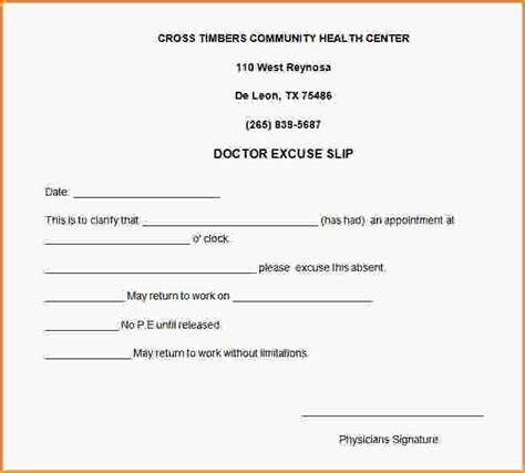 Excuse Letter Conflict Schedule 4 doctors note for work free loan application form