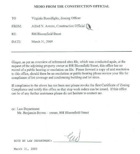 Request Letter For Zoning Certificate The Hoboken Journal Update 806 Bloomfield Lawsuit With Respect To Zoning Hearing Decision Pending
