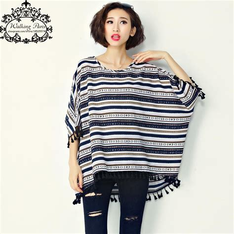 Stripe Style Top N1353 big size t shirt s cotton striped print batwing sleeve fashion large size tops summer