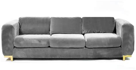 three seat grey velvet sofa for sale at 1stdibs
