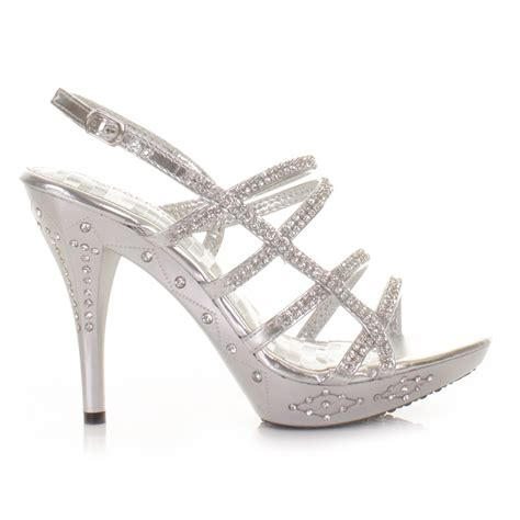 strappy sandals silver diamante prom shoes