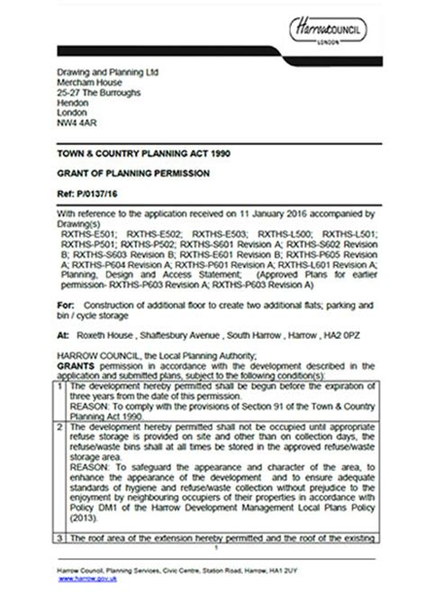 how to get planning permission for a house planning permission granted at roxeth house shaftesbury avenue harrow ha2 0pz