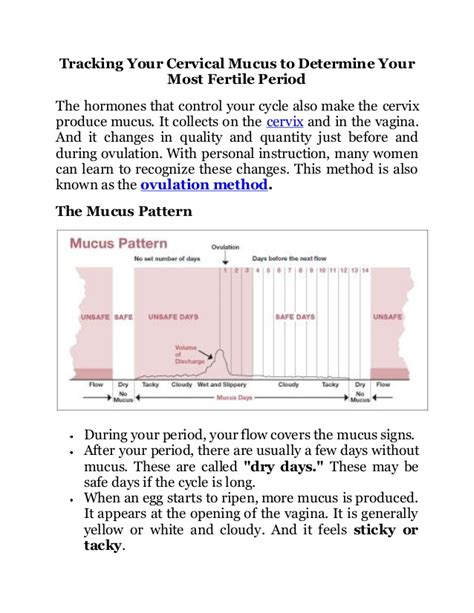 tracking your cervical mucus to determine your most