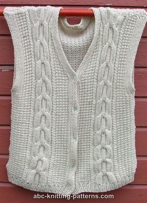 vest knitting pattern free abc knitting patterns white vest with cables
