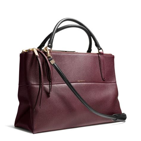 Coach Pebbled Leather Bag by Coach Borough Bag In Pebble Leather In Purple Gold Loganberry Lyst