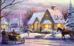 Of christmas art painting winter snow cottage horse christmas jpg