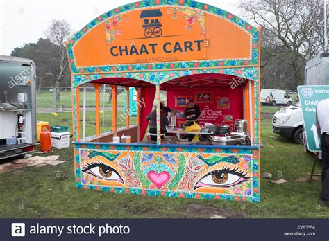 indian cart chaat cart indian food seller stall lunch stock