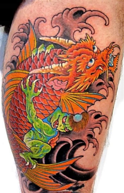 tattoo koi and dragon dragon koi fish tattoo on calf tattooshunter com