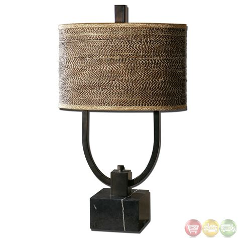 Uttermost Uk Stabina Rustic Bronze Base Rattan Shade Table L 26541