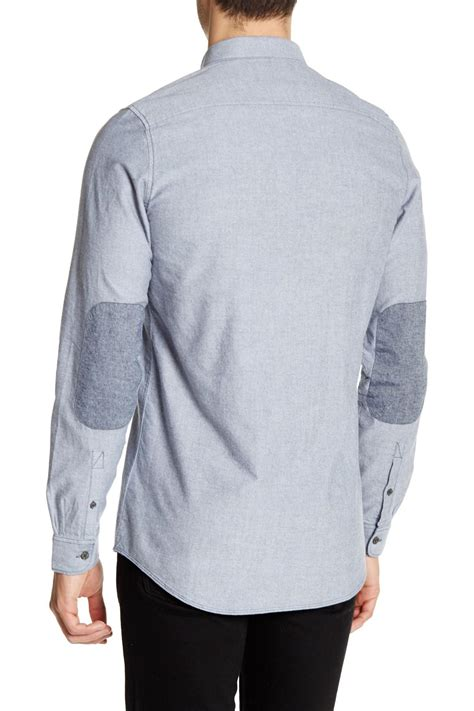 Longsleeve Dgrey Leather Patch civil society meyer sleeve patch shirt in gray for lyst