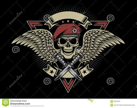 military skull with wings and daggers stock vector image
