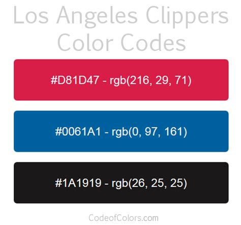 clippers colors los angeles clippers colors hex and rgb color codes