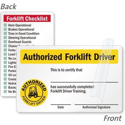 forklift certification cards forklift driver wallet cards