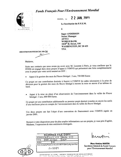 Gef Endorsement Letter Senegal River Basin Water And Environmental Management Program Global Environment Facility