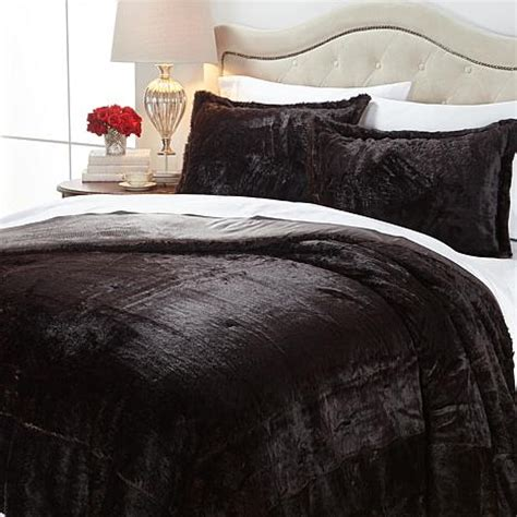 a by adrienne landau faux fur comforter set mink queen new