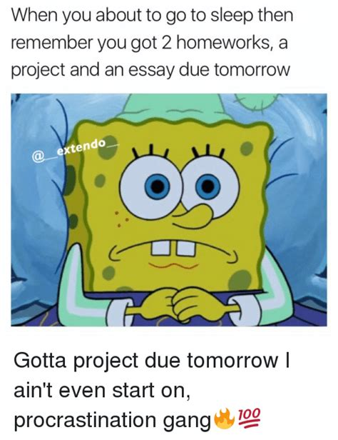 Essay Due Tomorrow Havent Started by Procrastinate Memes Of 2017 On Me Me Procrastining