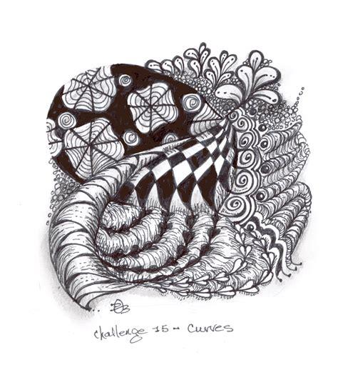 banar designs zentangle weekly challenge 15 curves dobriendesign march 2011