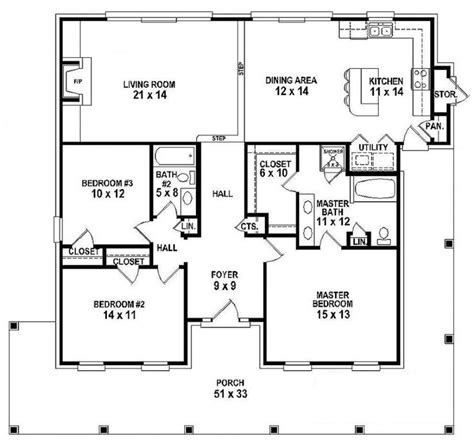 3 story floor plans 654151 one story 3 bedroom 2 bath southern country farmhouse style house plan house plans