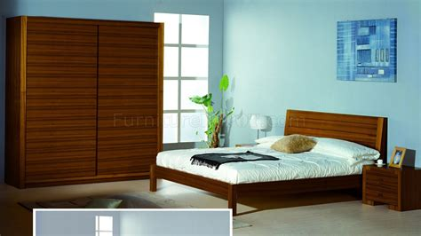 teak semi gloss finish modern bed w optional goods