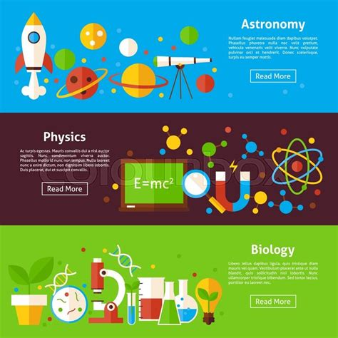 flat design header size astronomy physics biology science flat horizontal banners