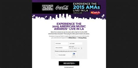 American Cash Awards Sweepstakes - carlsjrsamasweeps com carl s jr american music awards sweepstakes and instant win game