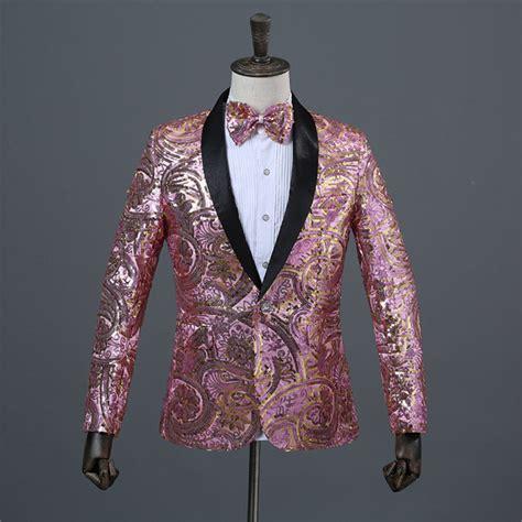 gold pattern blazer bling men s pink flower pattern wedding jacket groom