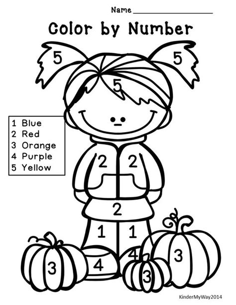 fall coloring pages color by number fall math packet no prep kindergarten count number