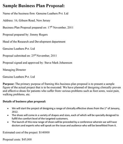 business plan proposal template business plan proposal