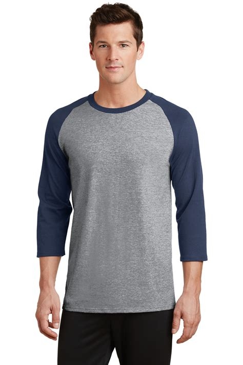 Navy T Shirt Raglan port company mens 3 4 sleeve raglan t shirt basic casual baseball pc55rs ebay