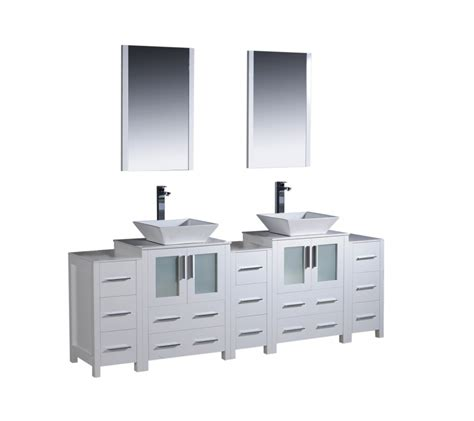 84 inch vessel sink bathroom vanity in white with
