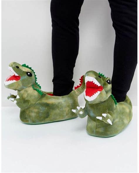 mens dinosaur slippers lyst asos dinosaur slippers in green in green for