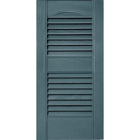 Builders Edge 12 In X 25 In Louvered Vinyl Exterior Home Depot Exterior Shutters