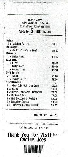 american restaurant receipt templates write classical family horrified after getting restaurant bill describing